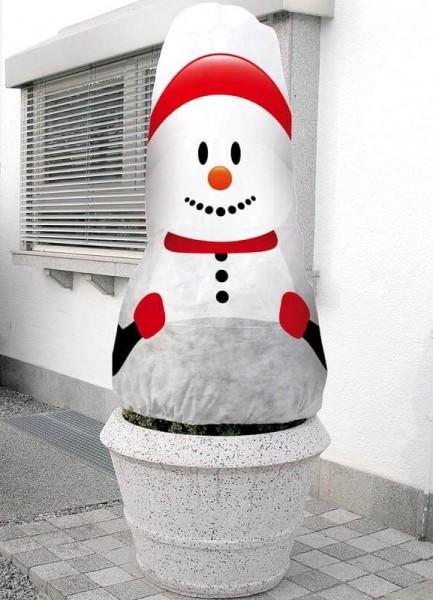 Winterschutzhaube Schneemann Motiv, 130 cm x 160 cm, Frostschutz, Vlieshaube, Winterschutz für Pflan