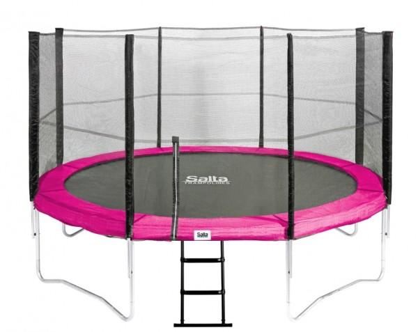 Trampolin pink 3,66 m, mit Fangnetz, Leiter bis 150 kg belastbar