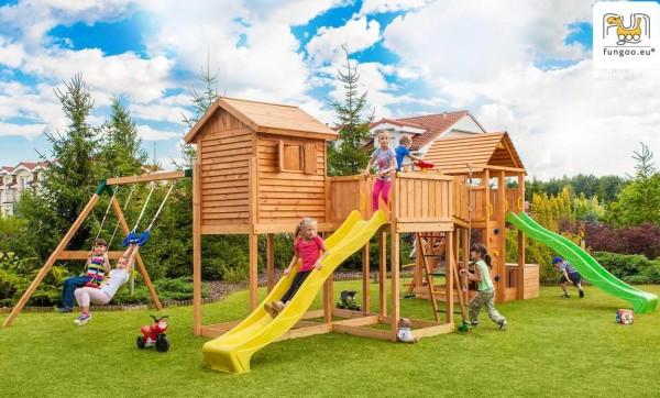 Fungoo Maxi Set Spielturm mit 2 x Rutsche, 2 x Spielturm, 2x Holzdach, Verbingungsmodul und Schaukel