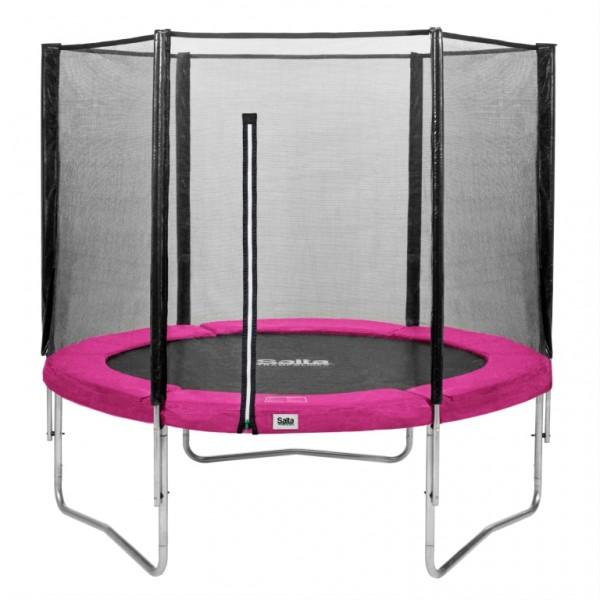 Salta Trampolin rund Ø 2,51 m, pink Combo mit Fangnetz, Schutzrand