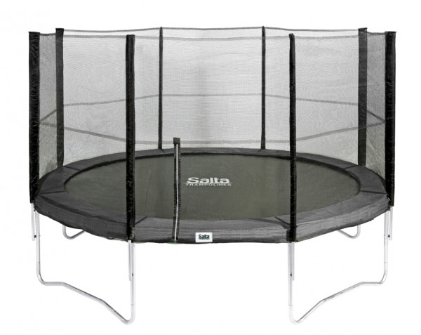 Salta Trampolin rund Ø 3,66 m, schwarz Combo mit Fangnetz und Schutzrand bis 150 kg belastbar