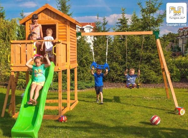 Spielturm mit Rutsche, Haus und Schaukel FUNGOO MyHOUSE MOVE