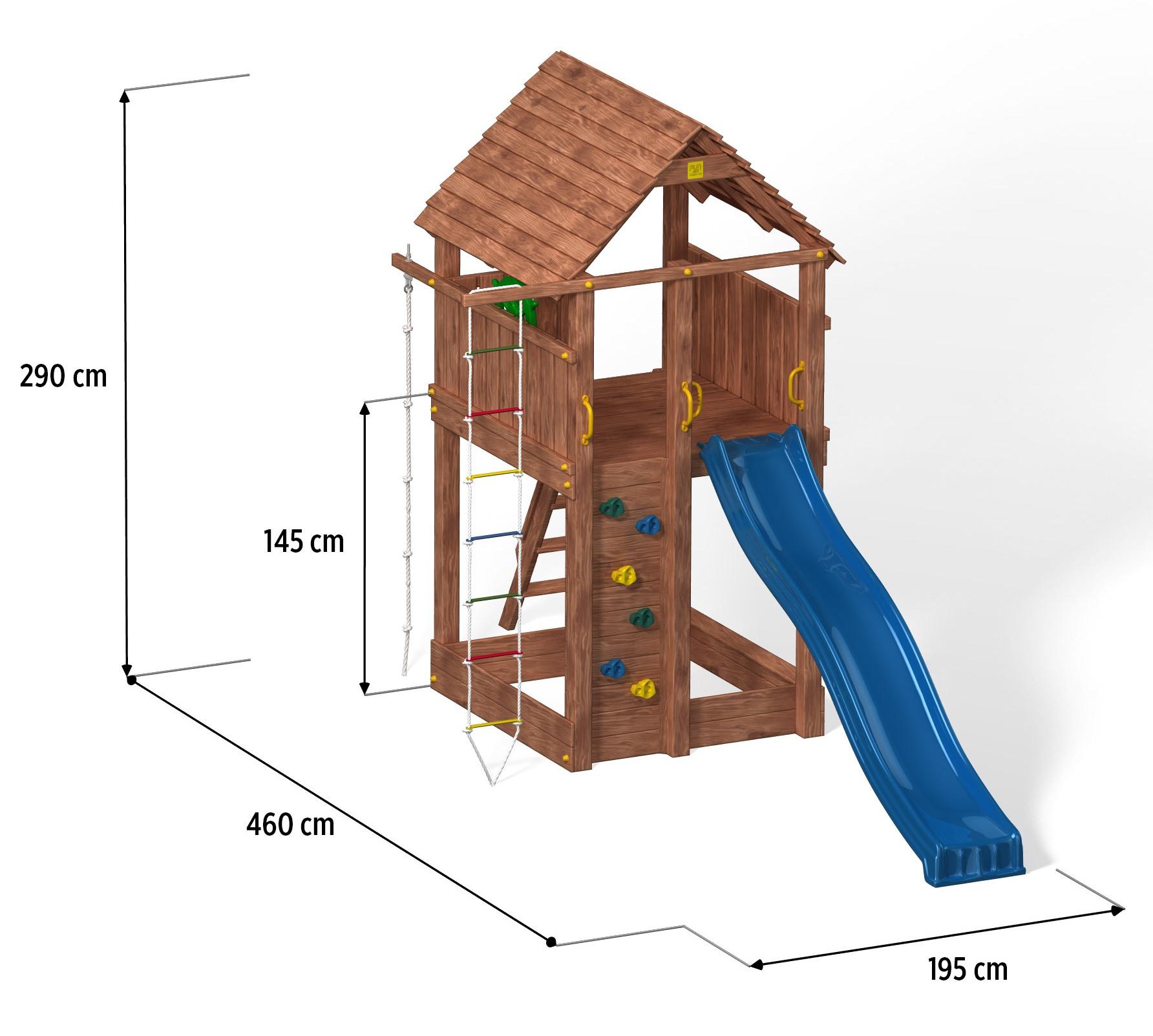 fungoo fortress move spielturm mit rutsche kletterwand leiter holzdach und doppelschaukel aus. Black Bedroom Furniture Sets. Home Design Ideas