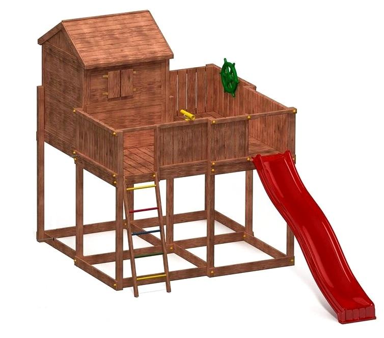 fungoo spielturm my space xl aus holz mit rutsche holzhaus griffe steuerrad fernrohr griffe. Black Bedroom Furniture Sets. Home Design Ideas