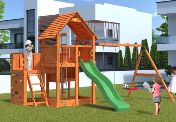 Spielturm Big Leader mit Doppelschaukel, Rutsche, Kletterwand, Holzdach und Sandkasten
