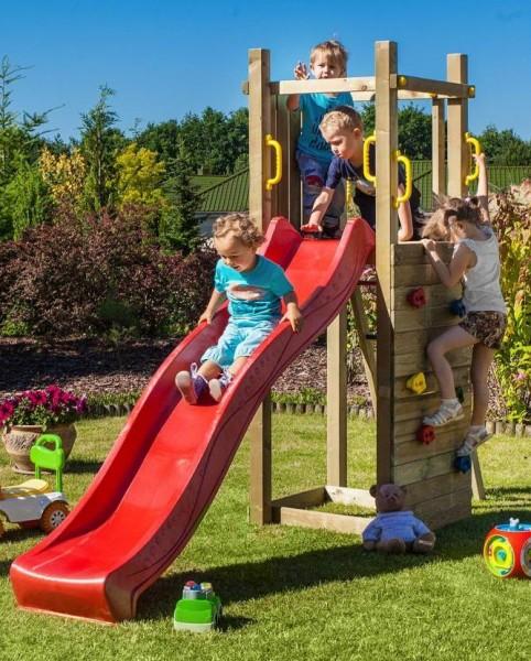 Spielturm Funny 3 mit Rutsche, Kletterwand, Griffe und Leiter