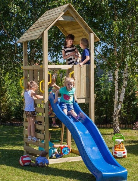 Spielturm Carol 1 mit Rutsche, Leiter, Holzdach und Klettersprossen