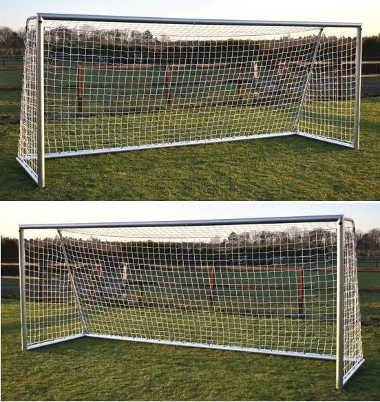 2 x Aluminium Fußballtore mit Netz 5m x 2m für den Garten, Outdoor Tor
