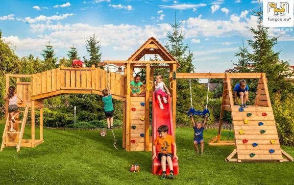 Spielturm Maxi Set mit Rutsche, Kletterturm, Kletterwand, Schaukel, Spielturm