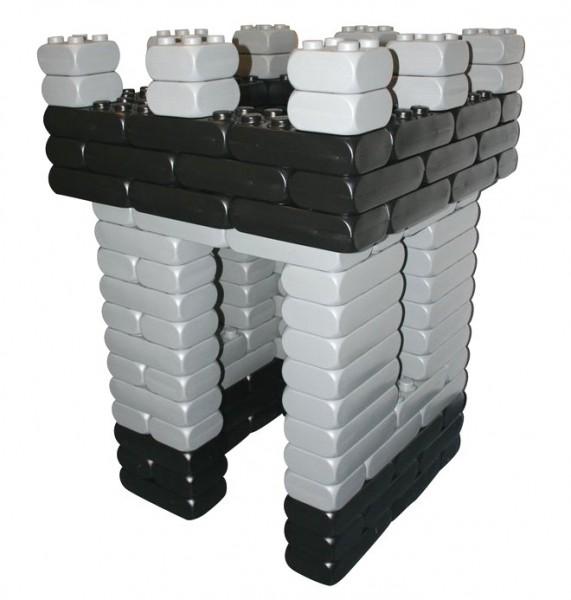 128 Stück XXL Fun-Blocks Ritterburg grau-schwarz, Spielbausteine, Bausteine von ESDA
