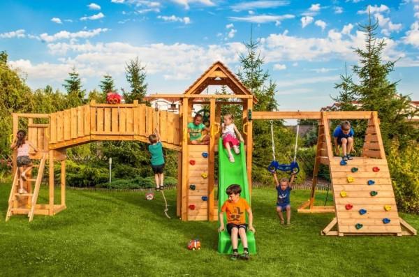 Spielturm Maxi Set mit 2x Spielturm, Rutsche, Kletterturm, Kletterwand, Schaukel,