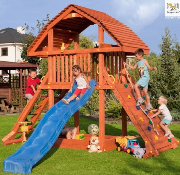 Fungoo Spielturm Giant mit Rutsche, Holzdach, Kletterwand, Sandkasten, Leiter