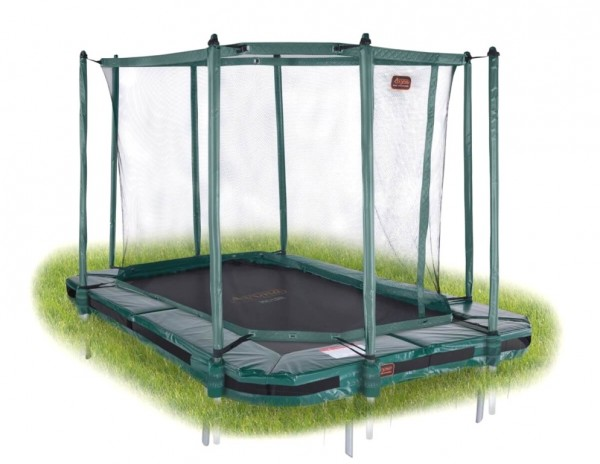 Avyna Proline Inground Bodentrampolin rechteckig 3,80 x 2,55m, grün mit Fangnetz