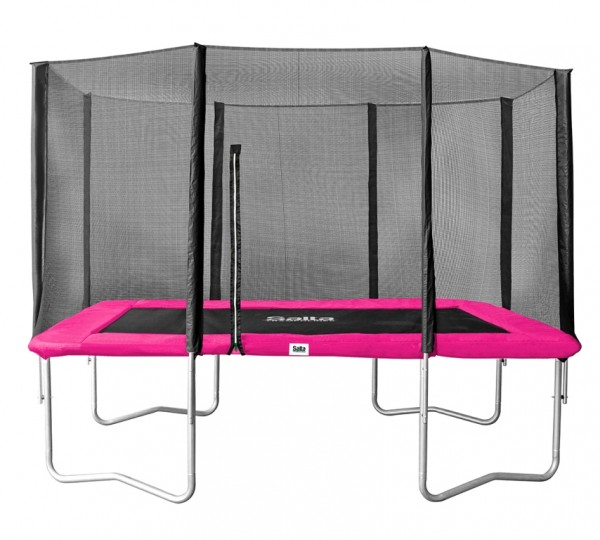 Salta Trampolin eckig 1,53 x 2,14m, pink Combo mit Fangnetz, Schutzrand bis 100 kg belastbar