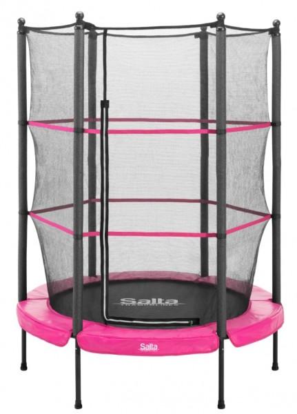Salta Trampolin rund Ø 1,40 m, pink Junior mit Fangnetz, Schutzrand