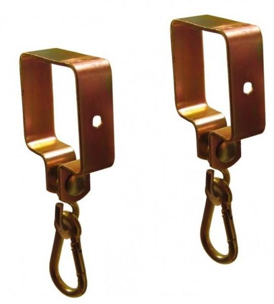 2 Stück Schaukelhaken Schaukelaufhängung mit Karabiner für Schaukelbalken 9 x 9 cm