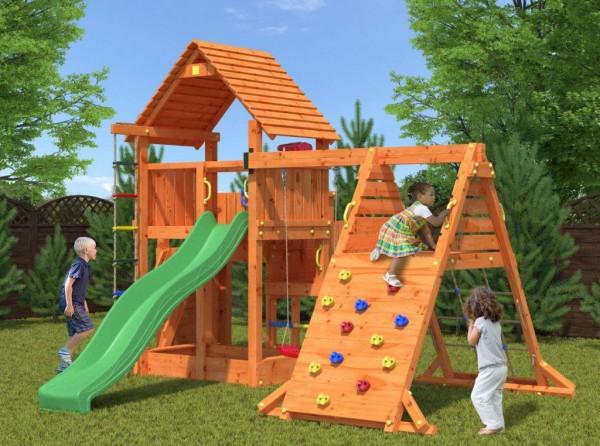 Spielturm Big Leader mit Einzelschaukel, Kletterturm, Rutsche und Sandkasten