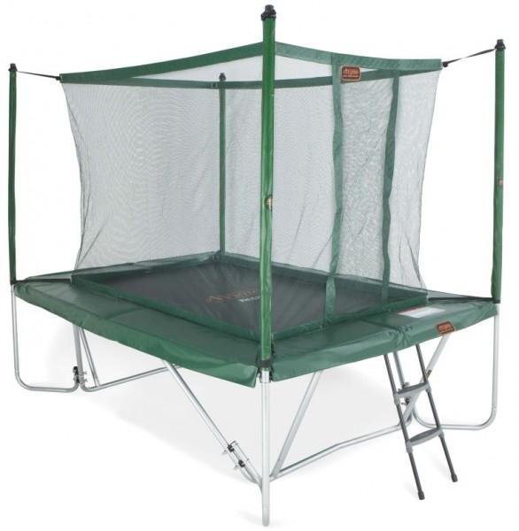 Trampolin mit Fangnetz und Leiter 3 x 2,25 m eckig grün