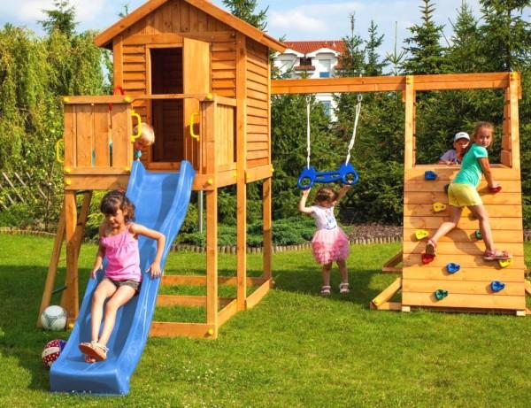 Spielturm My House Spider+ mit Rutsche, Haus mit Holzdach, Griffe, Leiter, Kletterturm und Schaukel
