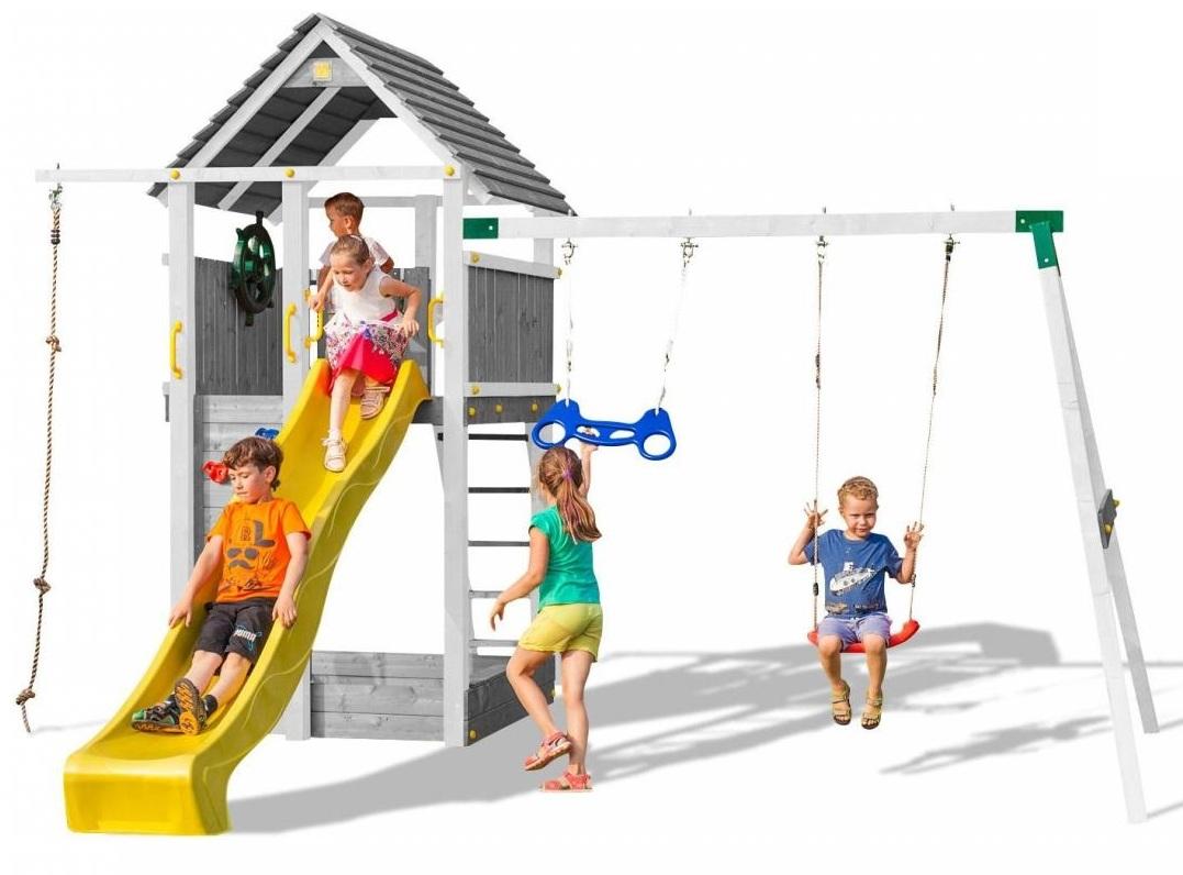 Favorit Fungoo Spielturm Fortress Move+ aus Holz im Farbton Grau-Weiß mit RP64