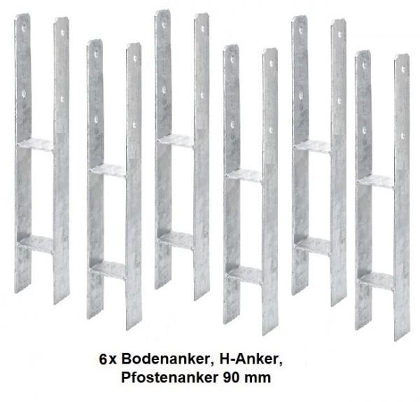 6 x Bodenanker, H-Anker, Pfostenanker 90 mm für Kanthölzer