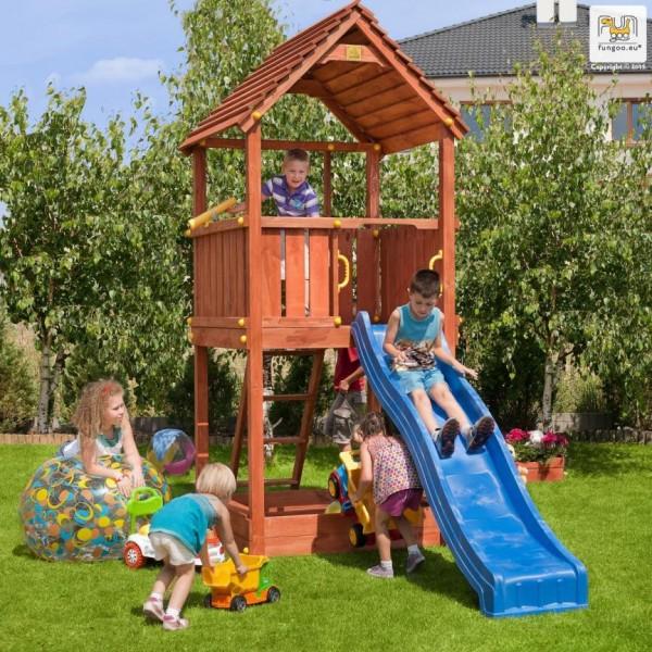 Spielturm Joy mit Rutsche blau, Holzdach, Leiter und Sandkasten