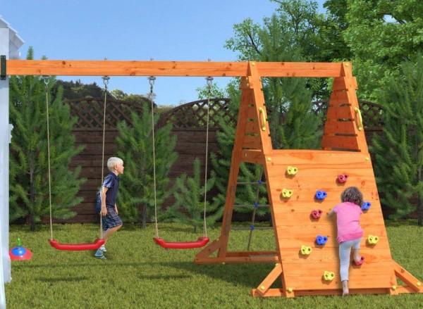 Kletterturm Anbau Modul mit Doppelschaukel und Sitz, Kletternetz für Spielturm von Fungo
