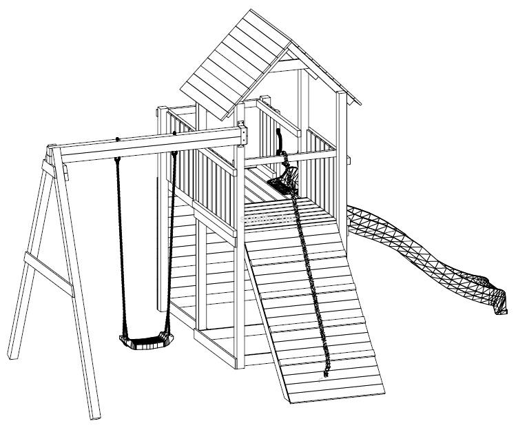 fungoo spielturm carol 3 im farbton grau weiss aus holz mit rutsche kletterwand kletterseil. Black Bedroom Furniture Sets. Home Design Ideas