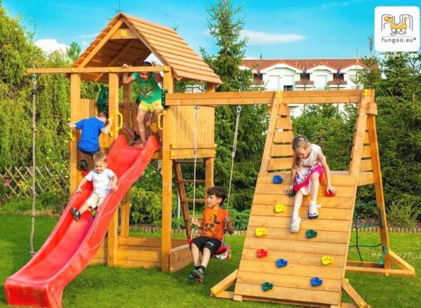 Spielturm mit Rutsche, Kletterturm und Schaukel FUNGOO SPIDER FORTRESS