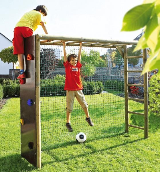 Fußballtor mit Netz aus Rundholz 240x200x60 cm Klettergerüst