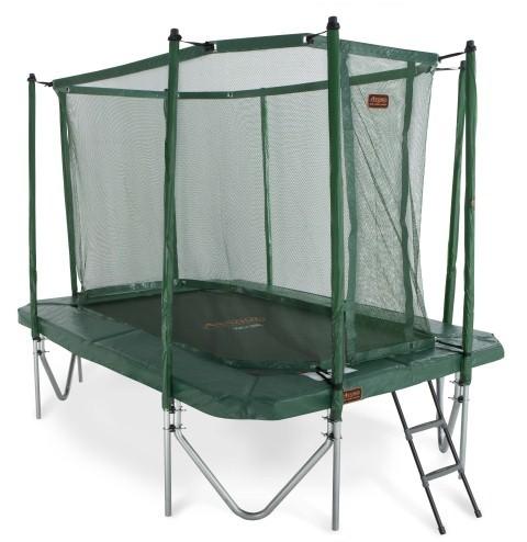 Trampolin grün mit Fangnetz, Leiter 3,40x2,40 m eckig