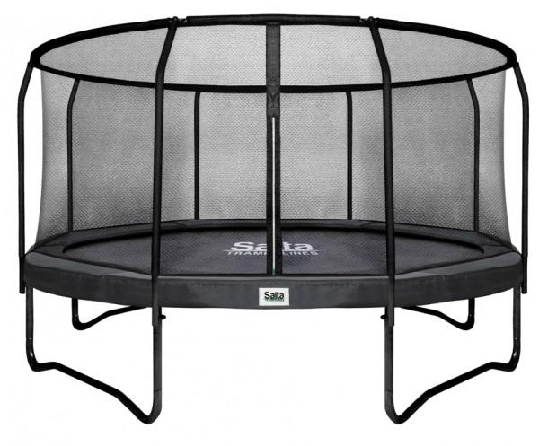Salta Trampolin rund Ø 3,66 m, Premium Black mit Fangnetz, Schutzrand belastbar bis 150 kg
