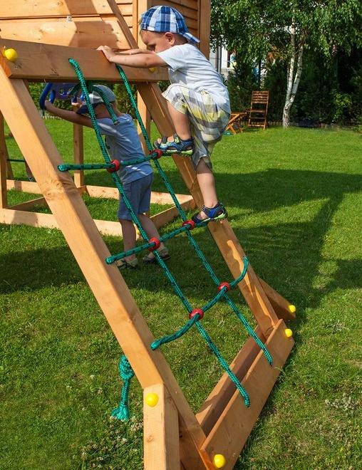 fungoo spielturm fun gym spielturmlandschaft aus holz set mit rutsche kletterwand kletterturm. Black Bedroom Furniture Sets. Home Design Ideas