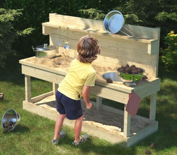 Matschküche Sandy mit Topfset, Kinderküche Outdoor