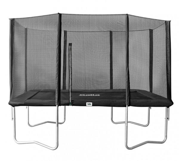 Salta Trampolin eckig 1,53 x 2,14m, schwarz Combo mit Fangnetz, Schutzrand bis 100 kg belastbar. Salta Trampoline Combo - rechteckig - 153x214cm - Schutzrand Schwarz - Trampolin mit Sicherheitsnetz