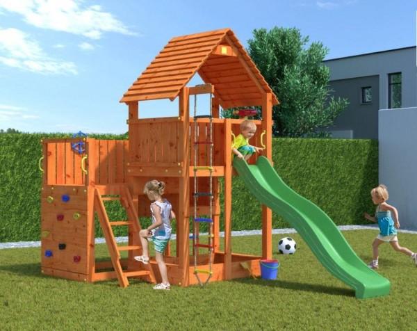Spielturm Big Leader mit Rutsche, Kletterwand, Holzdach und Sandkasten