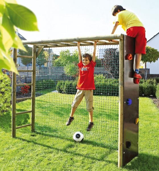Klettergerüst, bekletterbares Fußballtor mit Netz aus Rundholz 240x200x60 cm