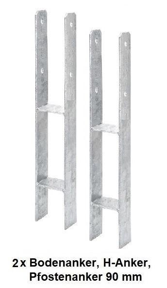 2 x Bodenanker, H-Anker, Pfostenanker 90 mm für Kanthölzer