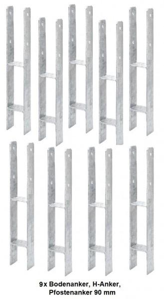 9 x Bodenanker, H-Anker, Pfostenanker 90 mm für Kanthölzer