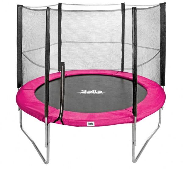 Salta Trampolin rund Ø 2,44 m, pink Combo mit Fangnetz, Schutzrand