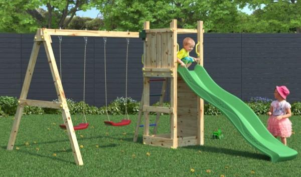 Spielturm Funny 3 mit Doppelschaukel, Rutsche, Kletterwand und Leiter