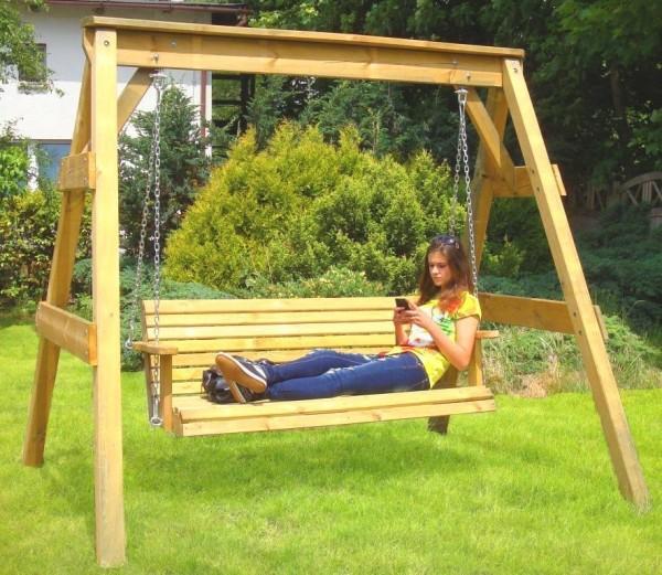 Hollywoodschaukel 2-Sitzer aus Holz