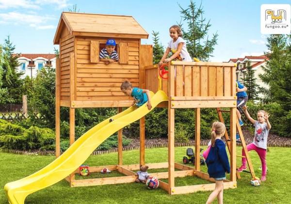 Fungoo Spielturm MySide mit Rutsche, Leiter, Haus mit Holzdach