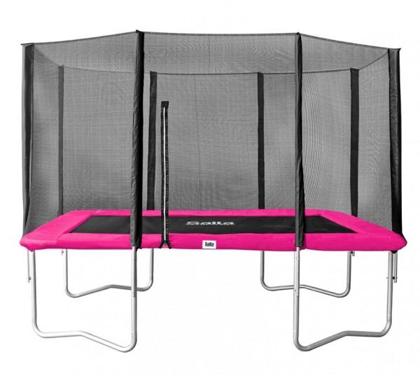 Salta Trampolin eckig 2,14 x 3,05 m, pink Combo mit Fangnetz, Schutzrand bis 150 kg belastbar