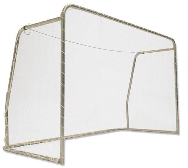 Stahl Fußballtor mit Netz und Bodenanker