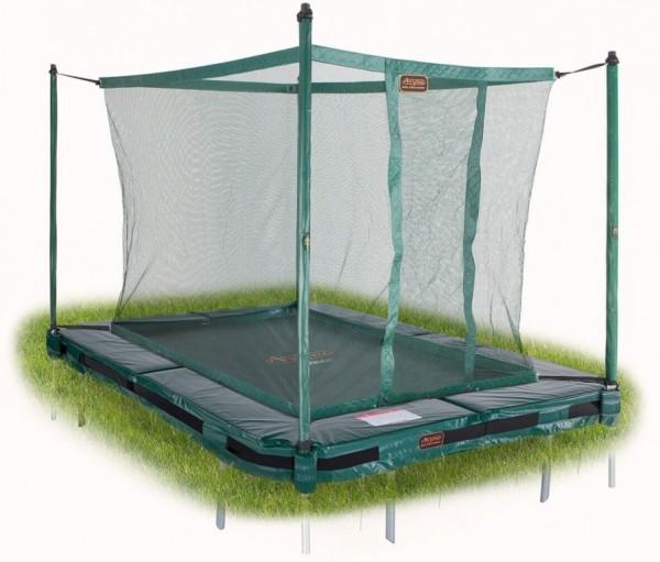 Avyna Proline Inground Bodentrampolin rechteckig 3,00 x 2,25m, grün mit Fangnetz