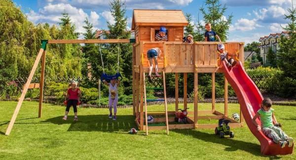 Fungoo XL Spielturm mit Rutsche, Doppelschaukel, Griffe, Leiter und Haus