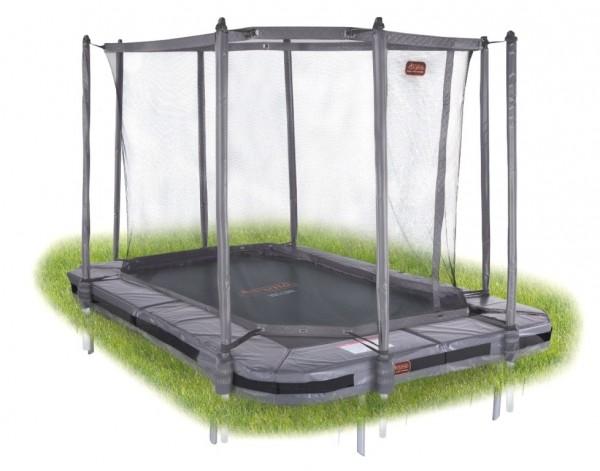 Avyna Proline Inground Bodentrampolin rechteckig 3,80 x 2,55m, grau mit Fangnetz