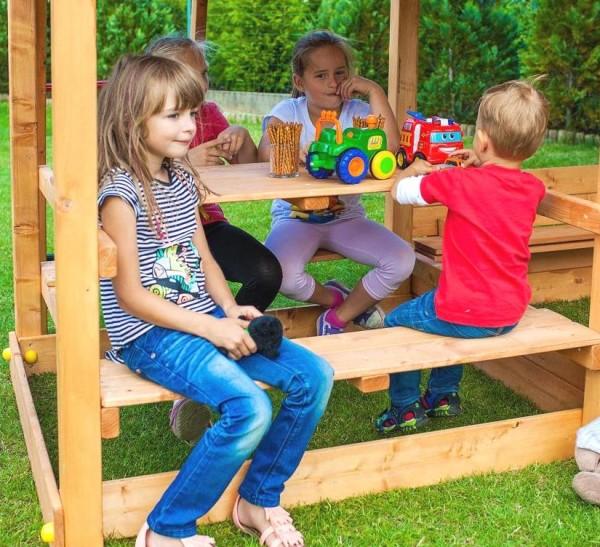 Picknicktisch, Tisch mit Sitzmöglichkeit für Spieltürme