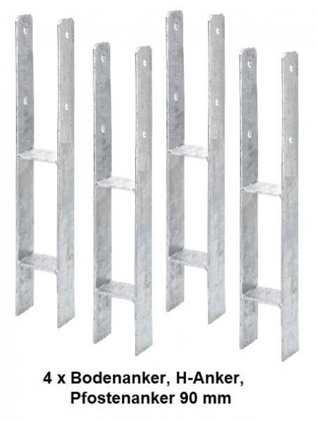 4 x Bodenanker, H-Anker, Pfostenanker 90 mm für Kanthölzer